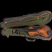 Vintage Stradivarius Model Violin Germany w/ Case & 2 Violin Bows 1 Japan 2 Piece Belly 1 Piece Back