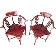 Vintage Matching Pair of Asian Corner Chairs Made of Rosewood Oriental Furniture Corner Chairs