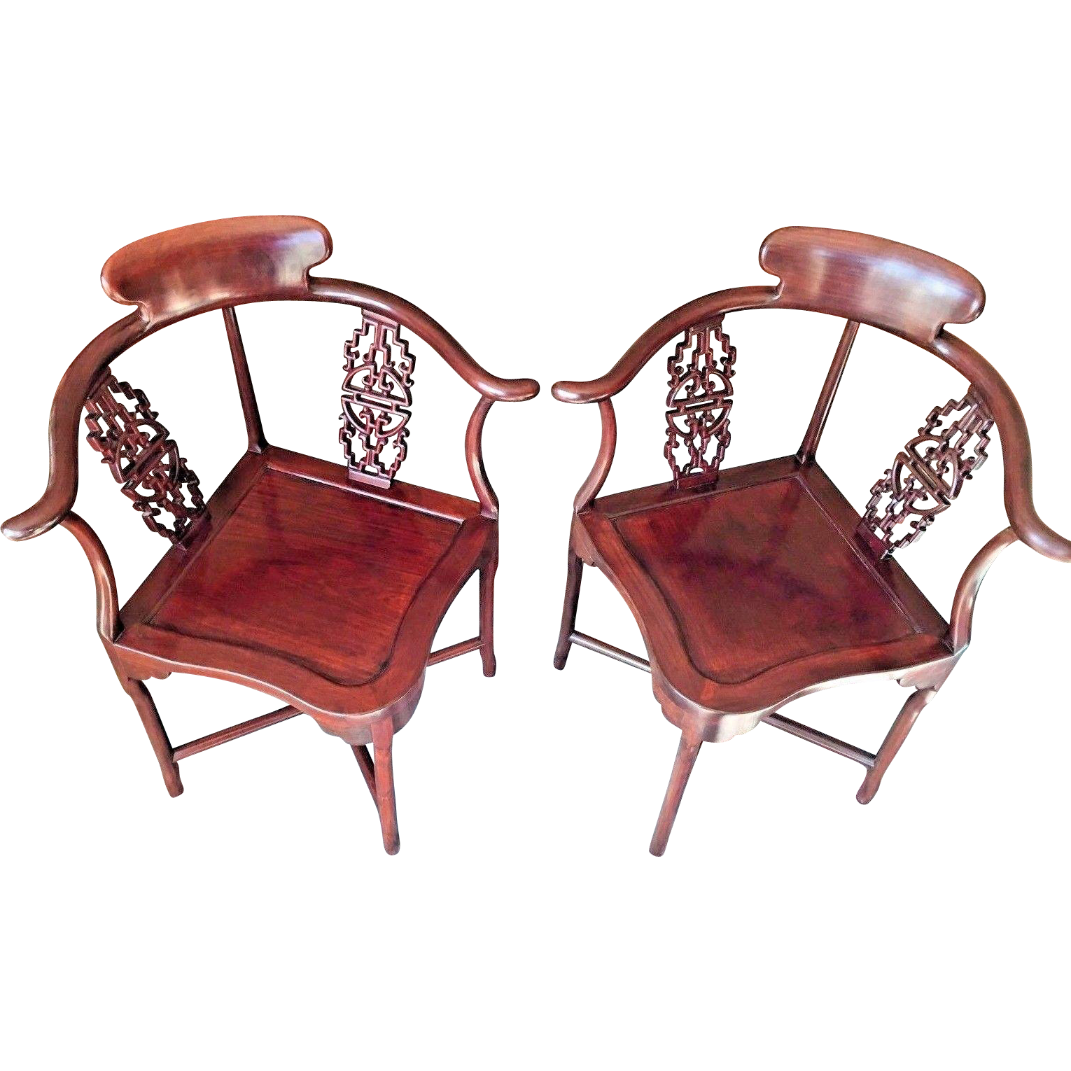 Vintage Matching Pair of Asian Corner Chairs Made of Rosewood