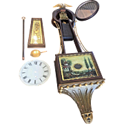"Antique Time Only Banjo Clock Marked ""AGH"" on Back Plate Beaded and Cannonball Trim Running"
