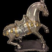 Vintage Decorative Chinese Pewter Horse Figurine Marked Ngan Hing Shun Made in Hong Kong
