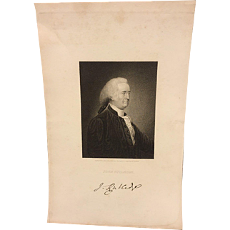 Antique John Rutledge Engraving G E Storm Eng from Col Trumbull Painting