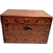 Vintage Inlaid Wood Box w/ Lock