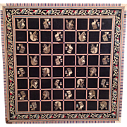Egyptian Themed Wood Game Board with Inlaid Squares and Trim