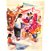 Mexican Market Watercolor Painting Signed by Ethel Lunenfeld Philadelphia PA Artist