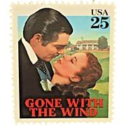 Vintage Gone with the Wind 25 Cent Stamp Framed and Matted 1990