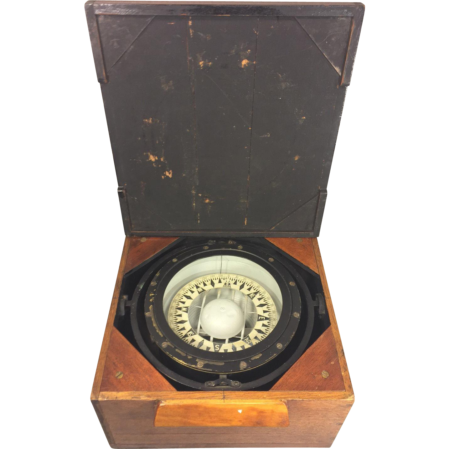 Antique Ritchie Compass In Mahogany Case With Lid From