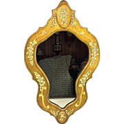 Vintage Katherine Henriet Hand Painted Mirror with Wood Frame