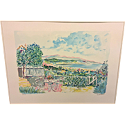 "Jean Claude Picot ""Bay of Cannes"" Color Limited Edition Lithograph (9 of 250) Pencil Signed Framed and Matted 1988"