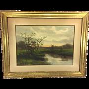 Antique G Drisler Watercolor Landscape Scene of A Creek in Spring Framed Well Listed NY Artist  Item Description