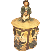SALE Vintage Terrra Cotta Humidor Tobacco Jar with Figural Lid