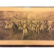 Antique Engraving Scotland For Ever, The Charge of the Scots Greys at Waterloo by Lady Butler