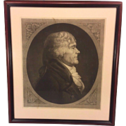 Antique Framed Engraving of Thomas Jefferson by Max Rosenthal after Saint-Memin 1905