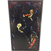 Vintage Oil Painting of Musicians on Cello, Piano & Violin by Morris Greenberg Oil on Masonite