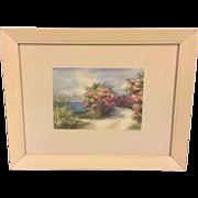 Vintage Ethel Tucker Watercolor Flowers by a Seaside Road in Bermuda 1948 Signed by Artist 2 of 2