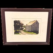 Vintage Douglas Schlemm Watercolor in Frame Barn on a Winding Lane