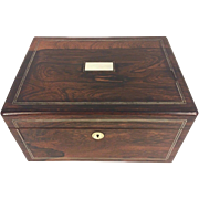 Antique Rosewood Lidded Jewelry Box Mother of Pearl Medallion & Escutcheon Double Silver Metal Inlaid Trim Secret Compartment
