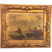 Antique LeVitt Oil Painting Marine Scene with Lighthouse in Wood Frame Signed by Artist