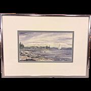 "Vintage D Henderson Watercolor of Coastal Maine Entitled ""Coastal Inlet"""
