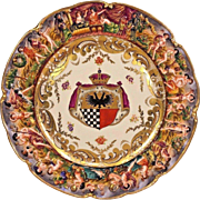 Antique Napoleon / Ginori Capodimonte Armorial Plate w/ Seal Minor Gilding Loss #2 of 2