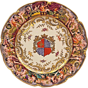 Antique Napoleon / Ginori Capodimonte Armorial Plate w/ Seal Minor Gilding Loss