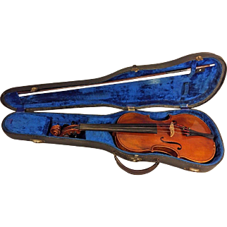 Vintage Josef Metzner Sachsen 1920 Stradivarious Model Violin & Glasser Bow 1 Piece Belly & 2 Piece Back