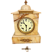 Antique Ansonia Onyx Clock Time & Strike Porcelain Face Not Running