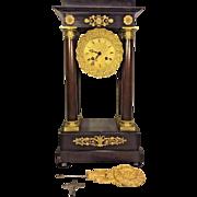 Antique FC Portico Empire Clock w/ Key Nice Pendulum Not Running France