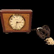 Vintage Seth Thomas Electric Alarm Clock  Wood & Metal Case Runs Model SS10-T