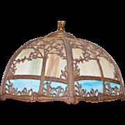 Vintage Hanging Slag Glass 3 Light Chandelier Metal Frame with a Tree & Grasses Design Unknown Maker