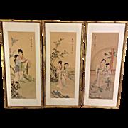 Kunisada 3 Japanese Wood Block Prints on Silk Omihatsuke Awazu in Frames