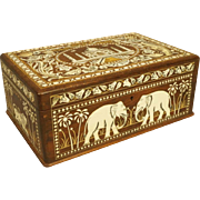 Vintage Inlaid Wood Box Images of Taj Mahal Elephants Lions Etc