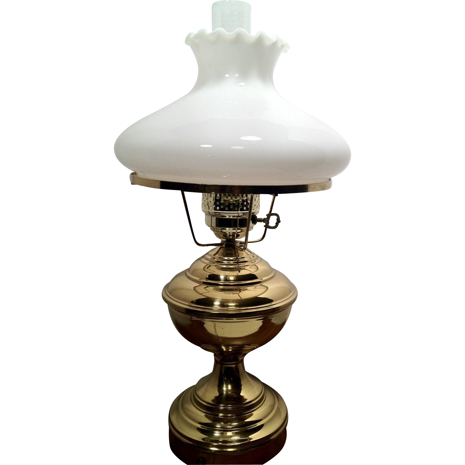 brass electric table lamp white milk glass globe and glass flute from. Black Bedroom Furniture Sets. Home Design Ideas