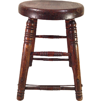 Antique Oak Stool with Spindles and Original Steel Support Rods and Hardware