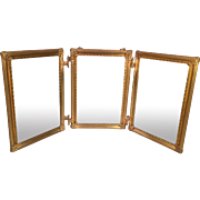 Triple Mirror with Gold Colored Metal or Brass Frame and Leather Backs Hanging Chain Great Detailing to Frame