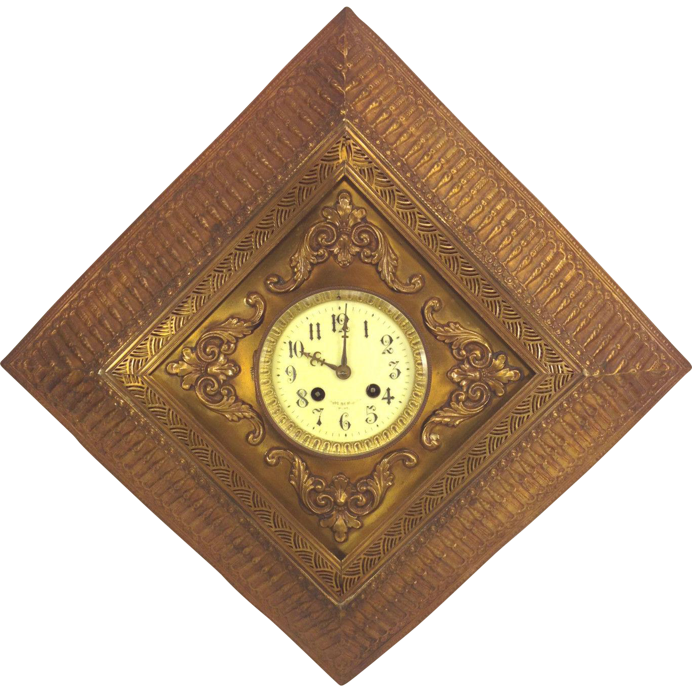 antique paris jeweler wall clock gold colored tin case. Black Bedroom Furniture Sets. Home Design Ideas