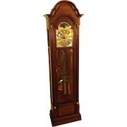 Vintage Sligh Grandfather Hall Clock Lunar Dial Wood Case Beveled Glass Runs Strikes Chimes  3 Chime Options
