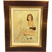 Vintage Mel Ramos Enamel/Acrylic on Wood Panel Female Seated Nude Signed with Fern & Fruit Matted and Framed