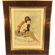Vintage Mel Ramos Enamel/Acrylic on Wood Panel Female Seated Nude with Candle Signed Matted and Framed