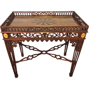 Vintage Heppelwhite Style Tea Table Mahogany with Elaborate Overall Scroll and Arch Cut Outs Exotic Inlaid Top and Wood Shell Inlays