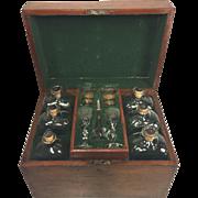 Antique Mahogany Liquor Glass Bottle Case Cellarette Tantalus w/ Lock Old Glass Bottles, Glasses, & Funnel