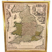 Antique Map of England Britannia sive Anglia Regnum Anglo Saxonum Imperia by Carthographer Matthias Seutter Framed 1735