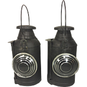 Antique Pair of Railroad Lanterns with Clear Lenses and Burners Unknown Maker
