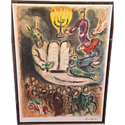 "Large Marc Chagall Limited Edition (74 of 375) Lithograph ""Moses Called the Elders & Presents Tablets of Law"" from the Story of the Exodus 1966"