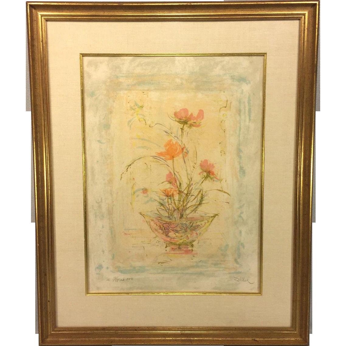 Edna Hibel Limited Edition Floral Print 165 175 Matted
