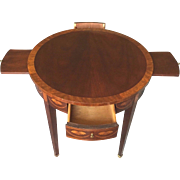 Vintage Baker Round Side Table w/ Inlay 2 Drawers and 2 Candle Slides Pembroke Style Legs
