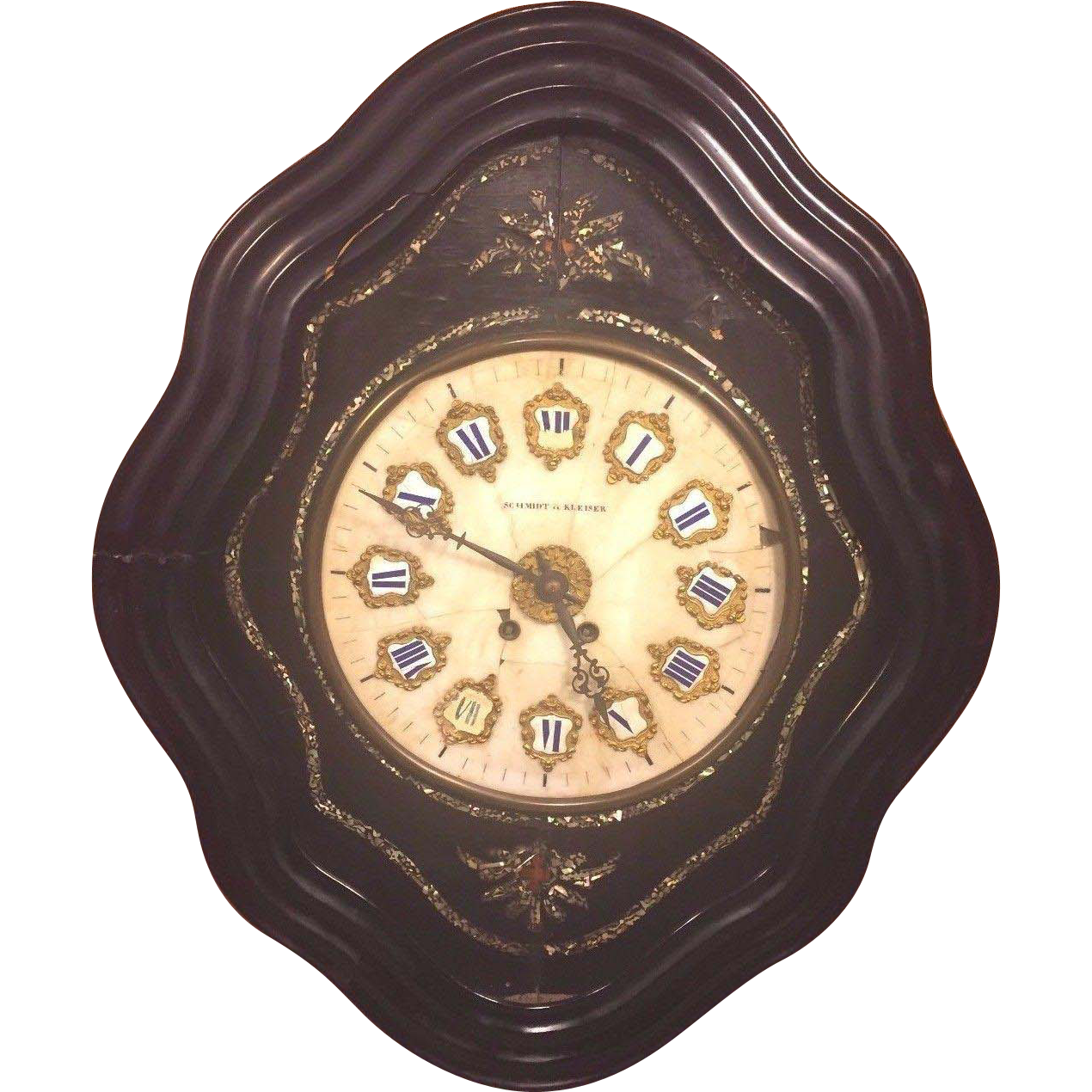 Large Clock Face Part - 31: Antique French Boulle Wall Clock Black Ebonized Case With Stone Face Not  Running Schmidt U0026 Kleiser