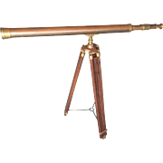 Vintage Brass Library Telescope with Brass and Wood Tripod Base Maker?  Item Description
