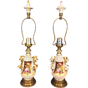 Pair of Porcelain Shell Look Lamps w/ Brass Trim Matching Porcelain and Brass Trim Finials Work Pink Blue and White Shelling