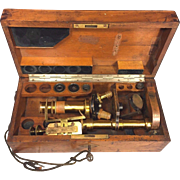 Antique Carl Zeiss Microscope w/ Wood Case Accessories Key for Lock!  Germany Late 1800s